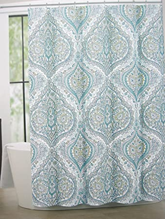 yellow and navy shower curtain. Tahari Home Cotton Blend Shower Curtain Bollington Damask 72 quot  x Turquoise blue Amazon com