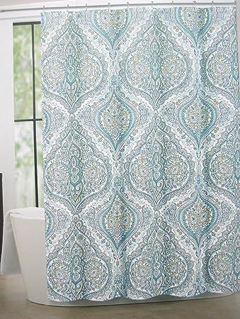 Tahari Home Cotton Blend Shower Curtain Bollington Damask 72quot X Turquoiseblue