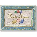 Stupell Home Blue Powder Room Rectangle Bath Plaque