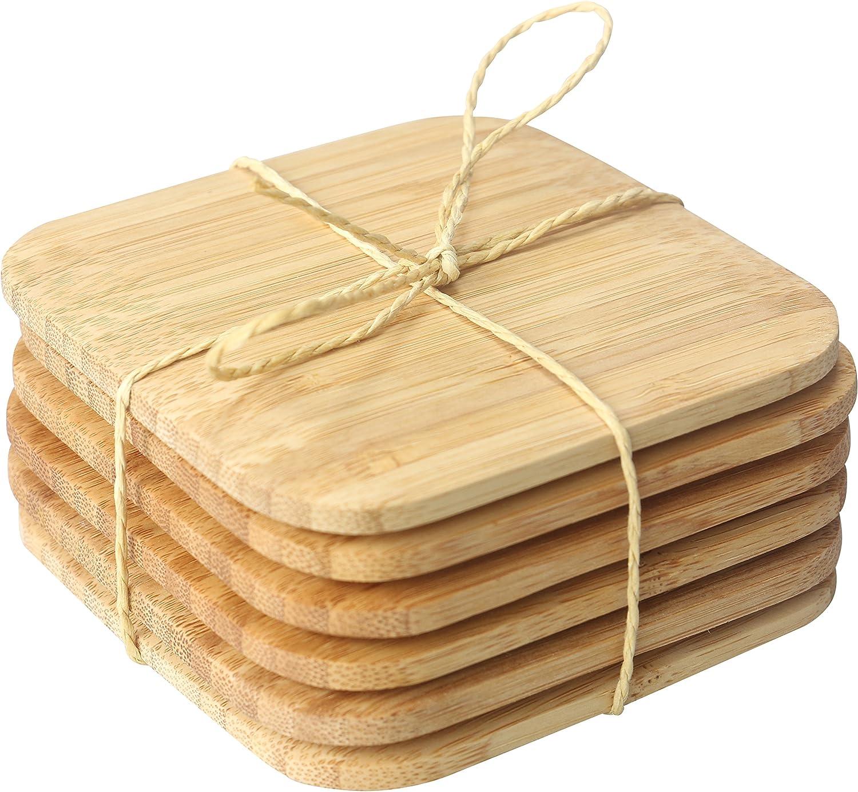 "Home Basics 4"" Bamboo Square and Sleek, 6 Pack Coaster Set, 4"" x 4"" x .5"""