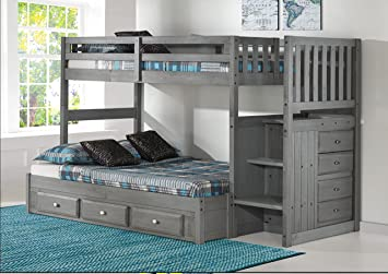 Charming Charcoal Twin Over Full Stair Bed With 3 Drawers