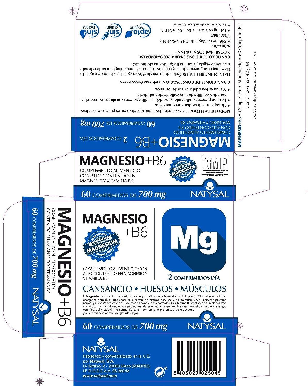 NATYSAL - MAGNESIO VIT B6 60comp NATYSAL: Amazon.es: Salud y cuidado personal