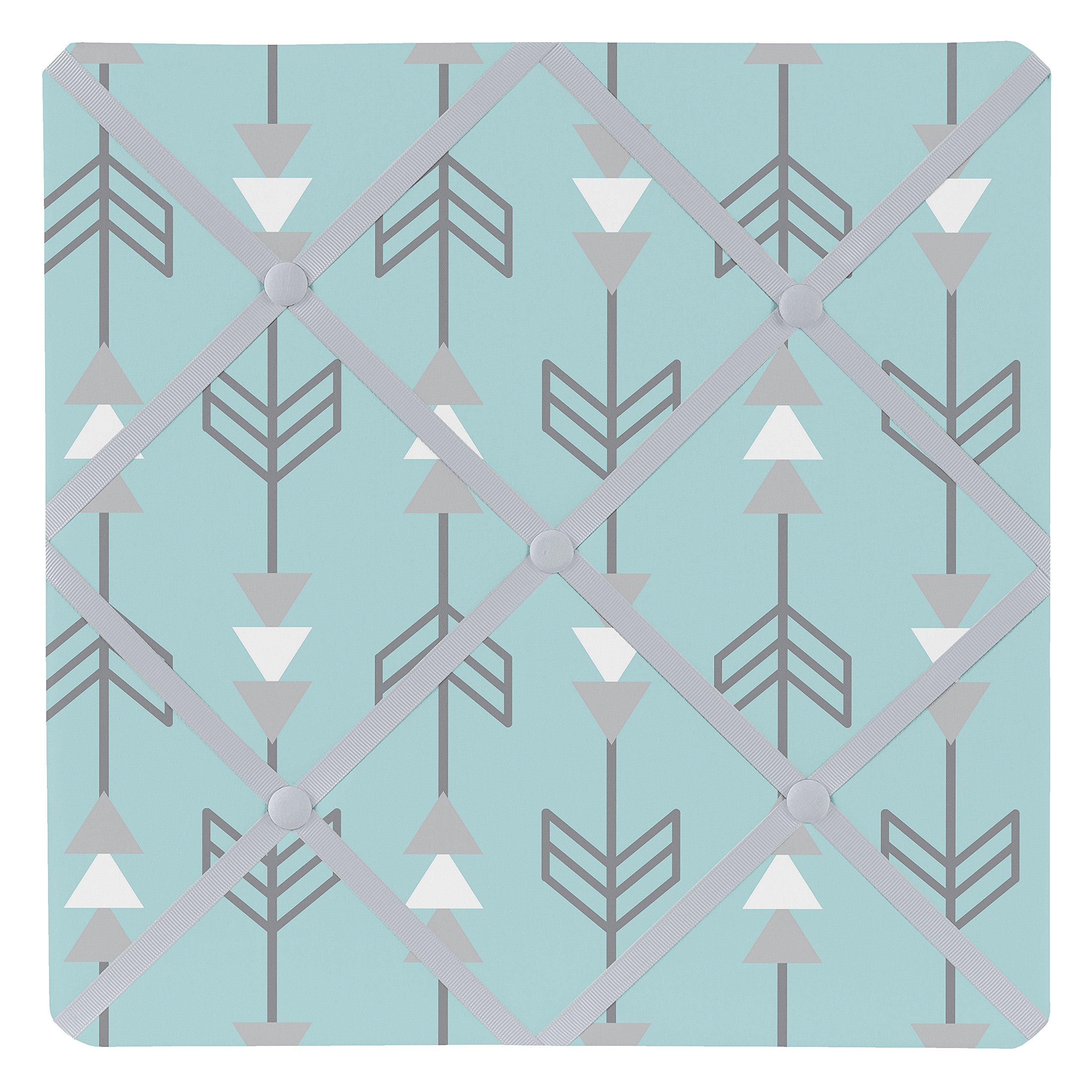 Sweet Jojo Designs Turquoise Blue and Gray Earth and Sky Arrow Print Fabric Memory/Memo Photo Bulletin Board