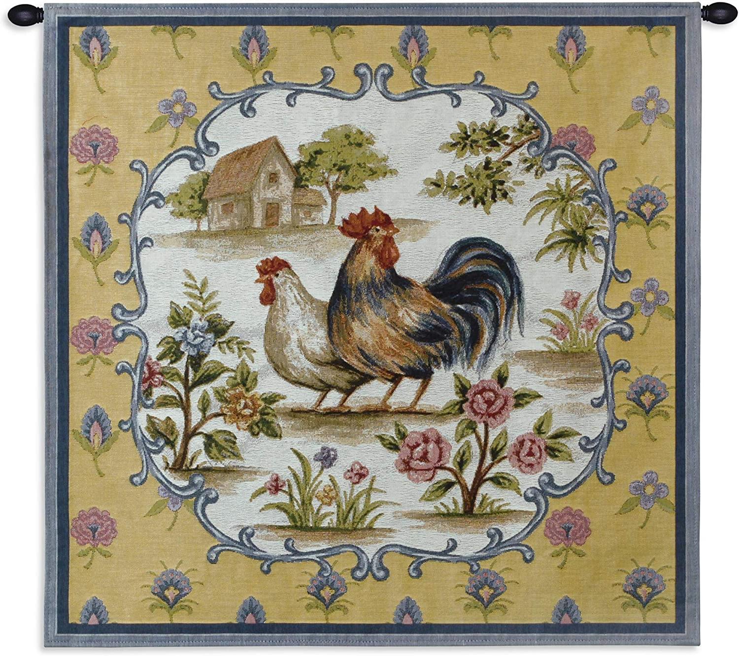 Roosters II Woven Tapestry Wall Art Hanging French Provincial Barnyard Hen and Rooster 100 Cotton USA Size 35×35