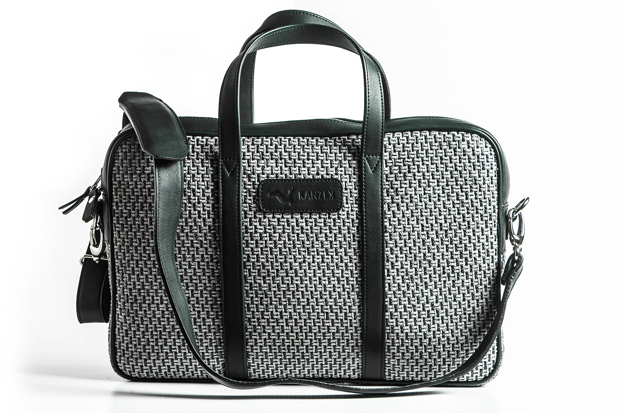 KANZEK Blue and Grey Leather and Canvas Laptop Messenger Briefcase/Shoulder Bag, 15.6'' Computers, Light and Professional. Premium Materials and Design, Luxury Metal Zippers - Men's and Women's