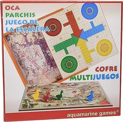 Aquamarine Games - Cofre Oca, parchís y Escalera, Set de Juegos (Compudid CP010): Amazon.es: Juguetes y juegos
