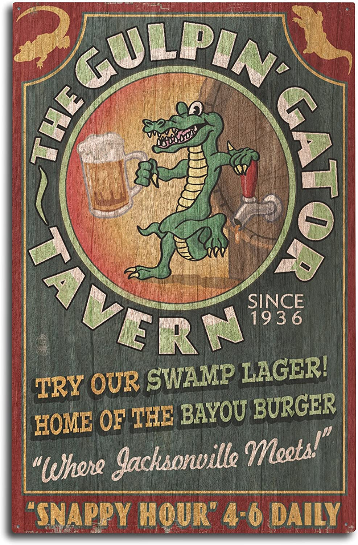 Lantern Press Jacksonville, Florida, The Gulpin Gator Tavern, Vintage Sign 75544 (10x15 Wood Wall Sign, Wall Decor Ready to Hang)