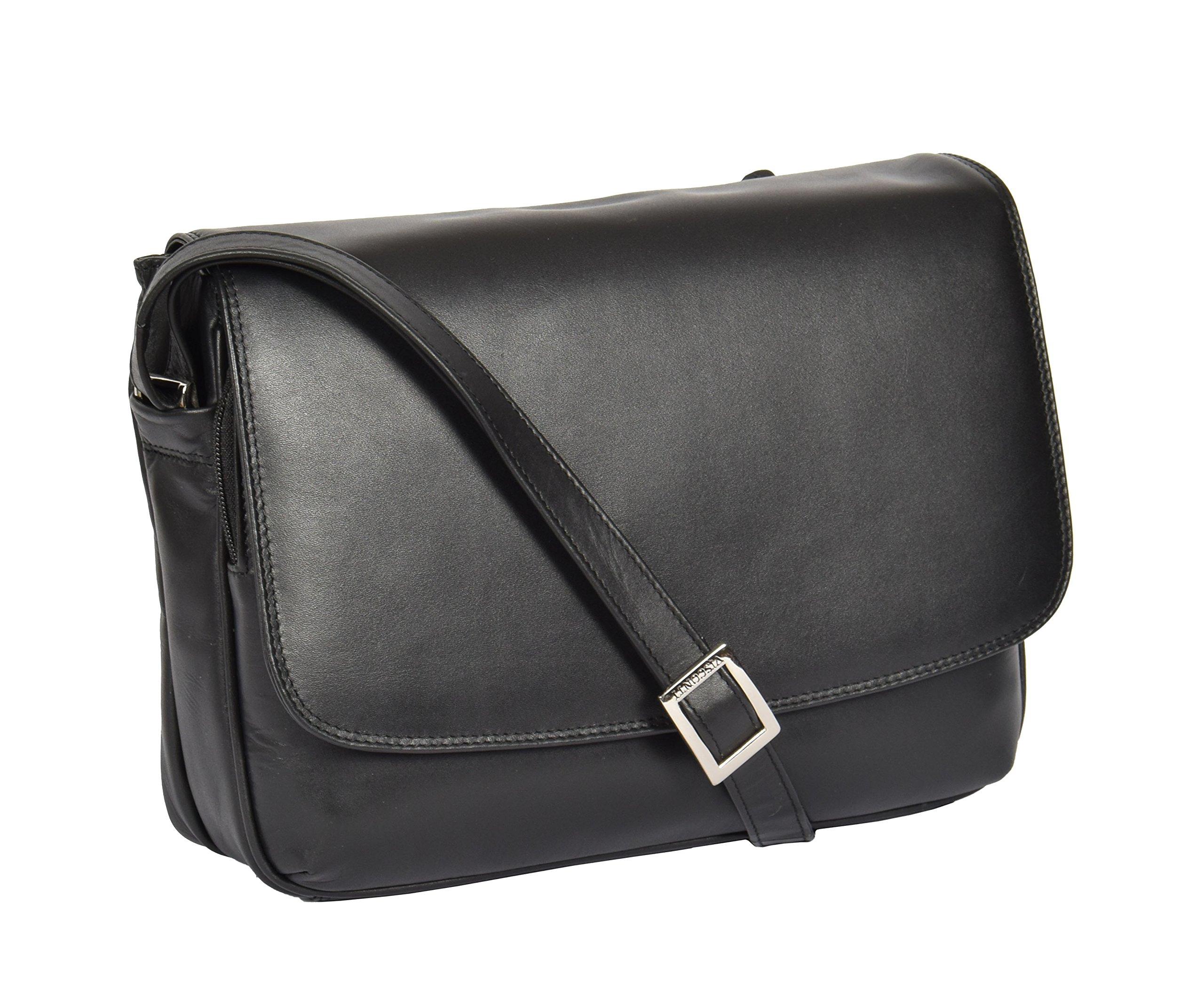 Womens Black Shoulder Leather Organiser Cross Body Work Messenger Bag A190