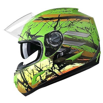 GLX Unisex-Adult GX15 Lightweight Full Face Motorcycle Street Bike Helmet with Internal Sun Visor DOT Approved (Totem, Medium): Automotive