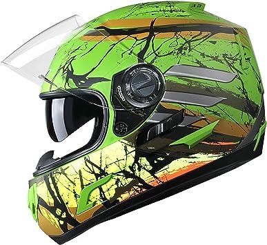 GLX DOT Approved Full Face Motorcycle Helmet Street Bike Dual Visor Color Size