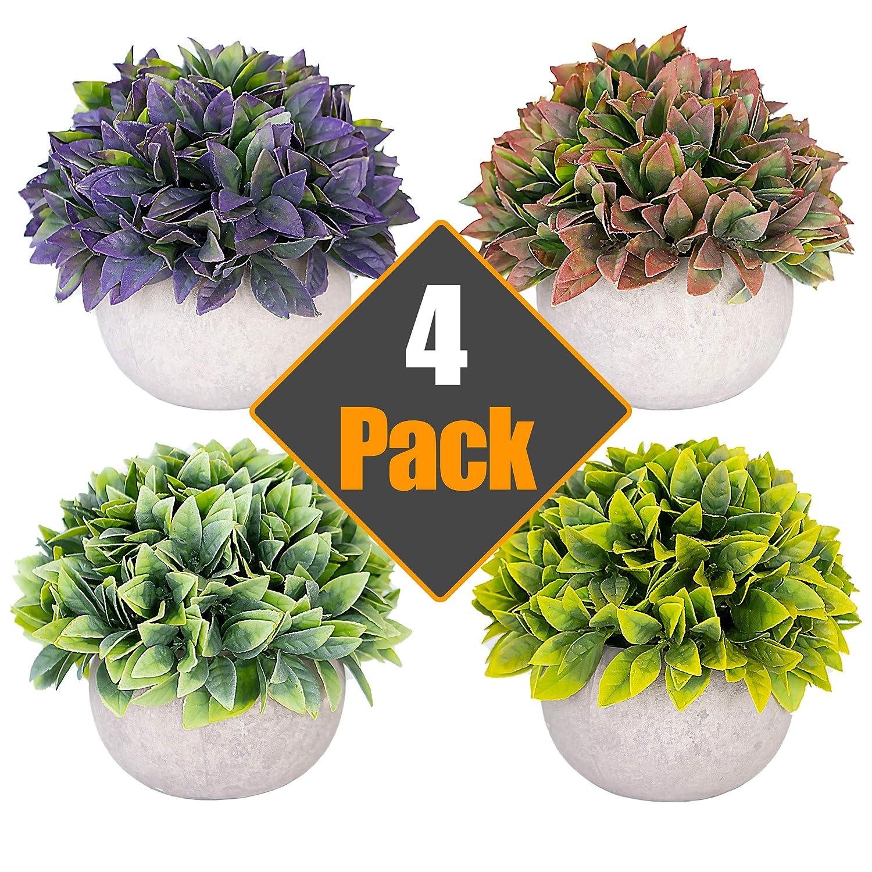 Artificial Plants Fake Plants (Set of 4) For Plant Decor - Good Quality, Cute, Realistic Desk Plant - Small Artificial Plants Fake Plant Multi Colored Artificial Plant For Home Decor Faux Plant Feaux