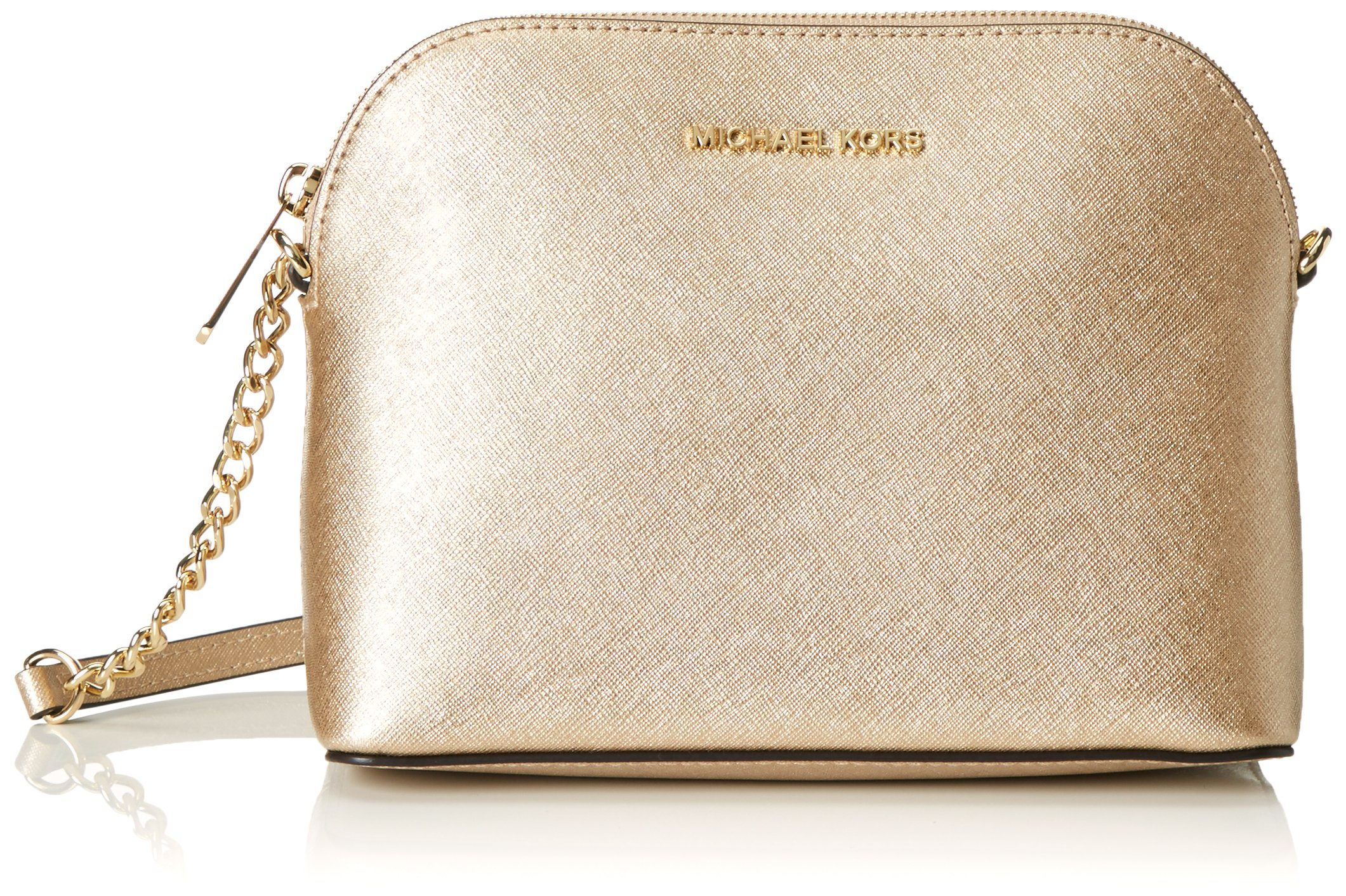 Michael Kors Cindy Leather Large Dome Crossbody Pale Gold