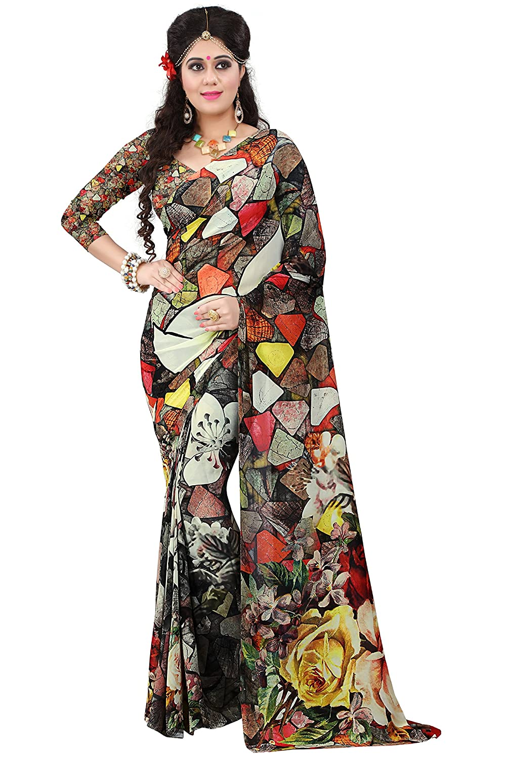 90571507c7 Amazon.com: Women's Faux Georgette Digital Print Saree Multicolor 6.30 m  With Blouse Piece by Kalaa Varsha: Clothing
