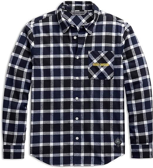 HARLEY-DAVIDSON Camisa a cuadros para hombre, diseño de Rider Spirit, color blanco - Multicolor - X-Large: Amazon.es: Ropa y accesorios