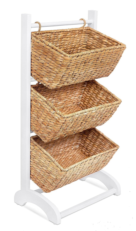 BIRDROCK HOME 3 Tier Abaca Storage Cubby (Natural) | 3 Baskets Made of Durable Seagrass Fiber | Solid Wood Frame | Child Pet Dog Toy Food Storage Organizer Shelf | Kitchen Vertical Rack Unit Stand