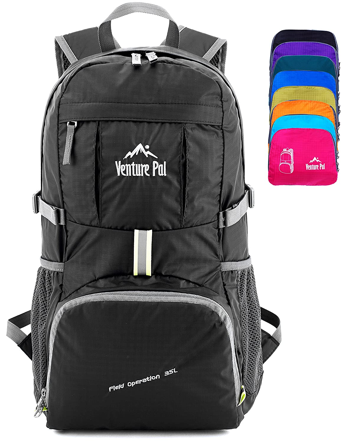 449416fd61 Amazon.com   Venture Pal Ultralight Lightweight Packable Foldable Travel  Camping Hiking Outdoor Sports Backpack Daypack (Black)   Sports   Outdoors