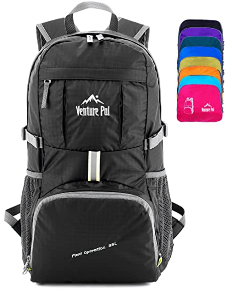 Venture Pal Ultralight Lightweight Packable Foldable Travel Camping Hiking  Outdoor Sports Backpack Daypack (Black) 5bddc74ae8ee8