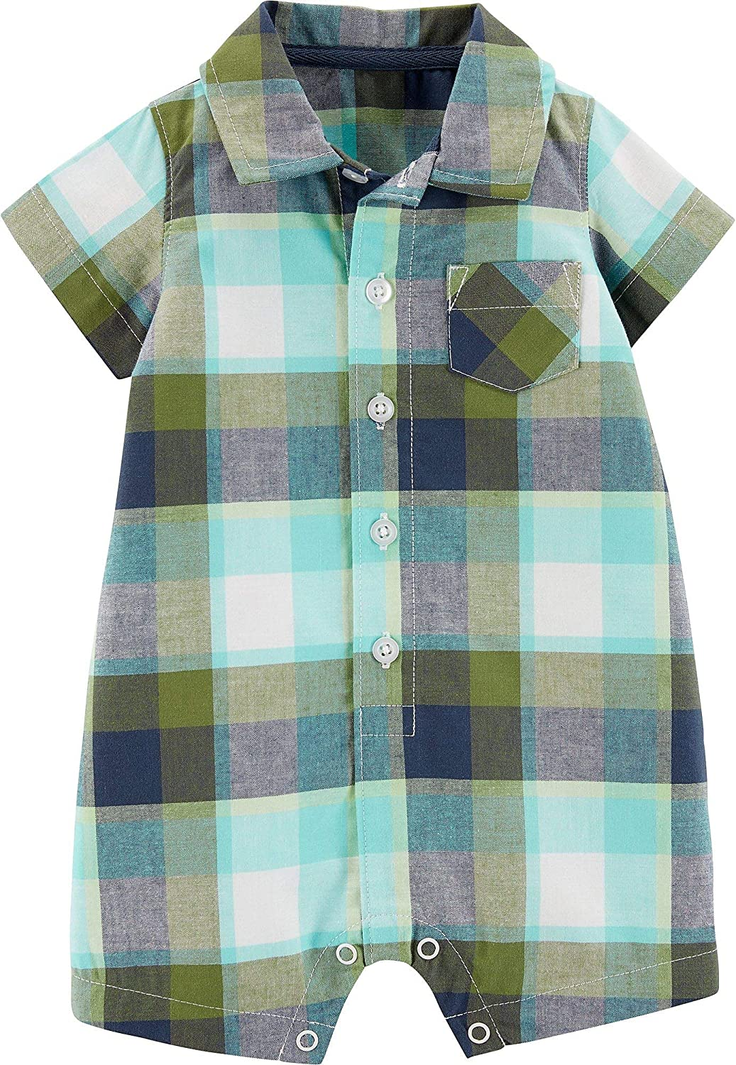 Carters Baby Boys Plaid Button Front Pocket Romper 18 Months Green//Blue//White