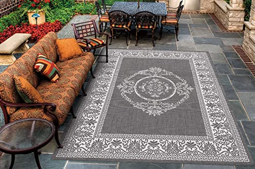 Couristan 1078 3012 Recife Antique Medallion Grey-White 7-Feet 6-Inch by 10-Feet 9-Inch Rug