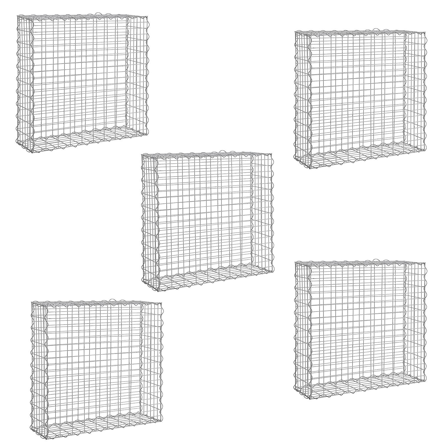5 pieces gabion set / wall / fencing / sight protection / garden decoration / wire mesh / galvanized [pro.tec]®