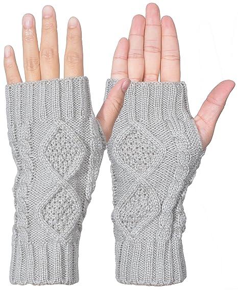 4d3884c39c4 Outrip Womens Fingerless Gloves Winter Warm Knit Thumb Hole Mittens Arm  Warmers (Light Gray)