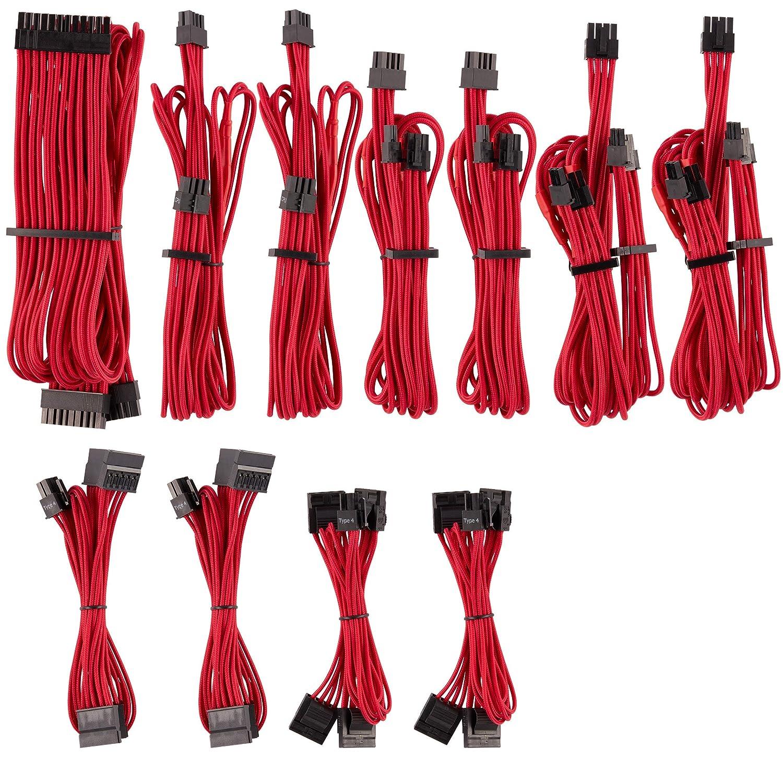 Cables fuente de alimentacion pc ordenador rojo red