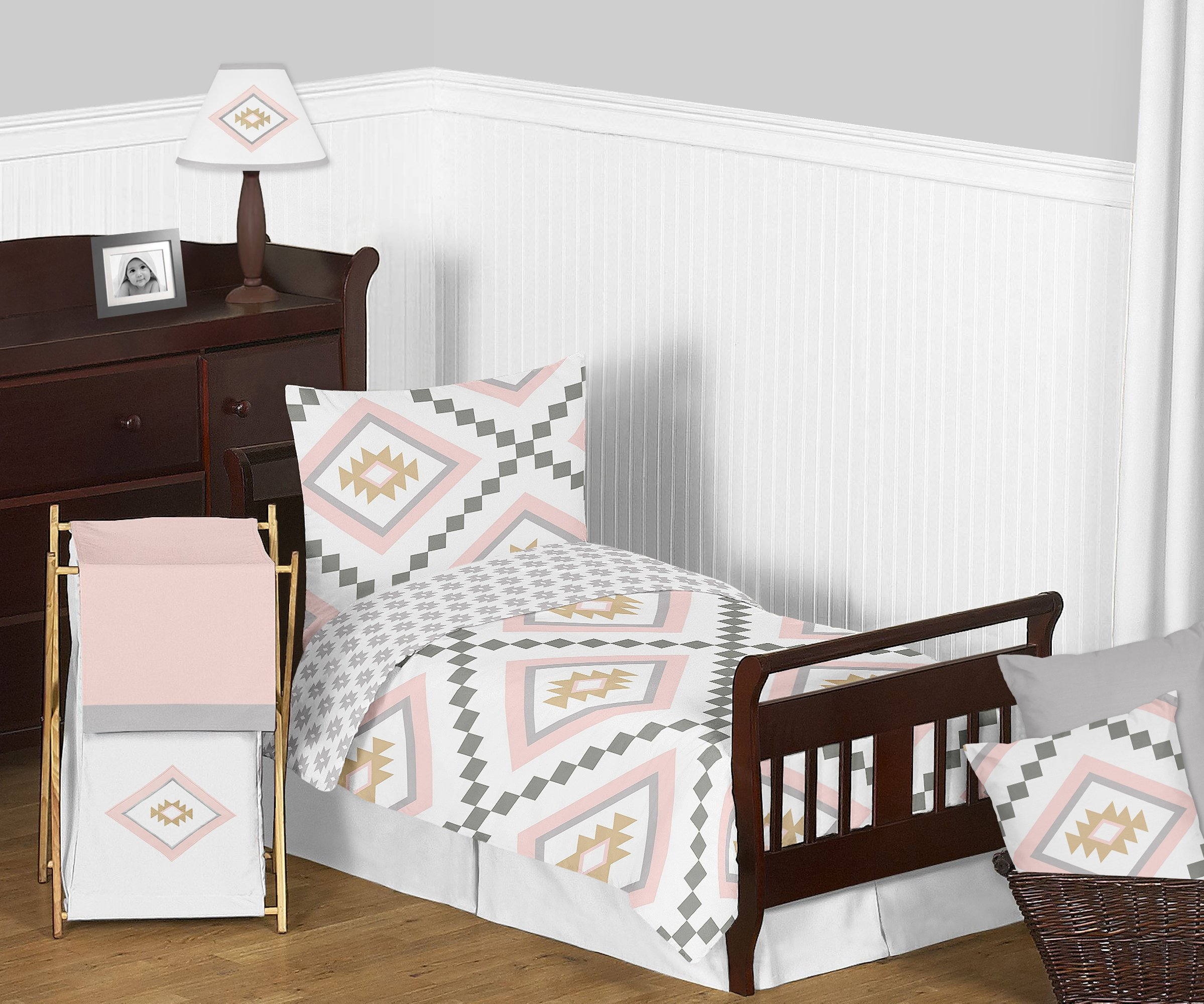 Sweet Jojo Designs 5-Piece Blush Pink and Grey Boho and Tribal Aztec Girl Toddler Kid Childrens Bedding Set s Comforter, Sham and Sheets
