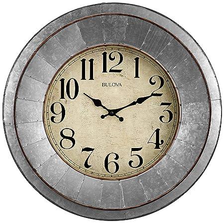 Bulova C4839 Industrial Wall Clock, Galvanized Silver Tone Finish