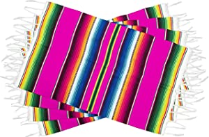 Threads West Genuine Mexican Premium Quality Colorful Fringed Serape Placemats Designed in Traditional Mexican Serape Blanket Material. Set of 4 Placemats (Pink)