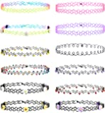 Besteel 8-12 PCS Womens Rubber Necklace Chain Double Line Tattoo Choker Necklace Stretch Elastic Set for Teen 80s 90s