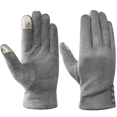 e000e2bb5af811 Acdyion Winter Damen Touchscreen Handschuhe Wildleder warm schick Outdoor  für fahren Motorrad Radfahren (Grau)