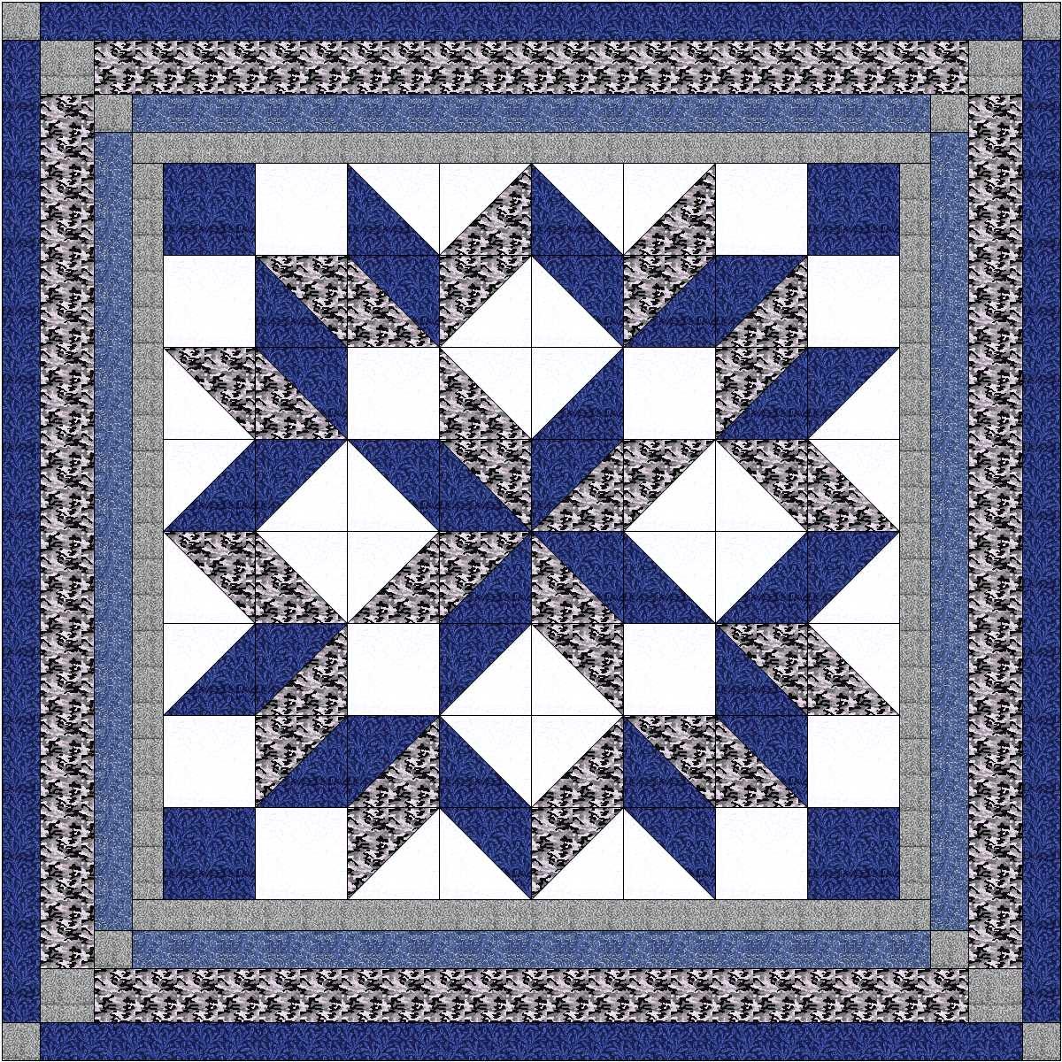 Easy Quilt Kit Carpenters Wheel/ Blue/Black and Gray Camo-Expedited Shipping by Material Maven