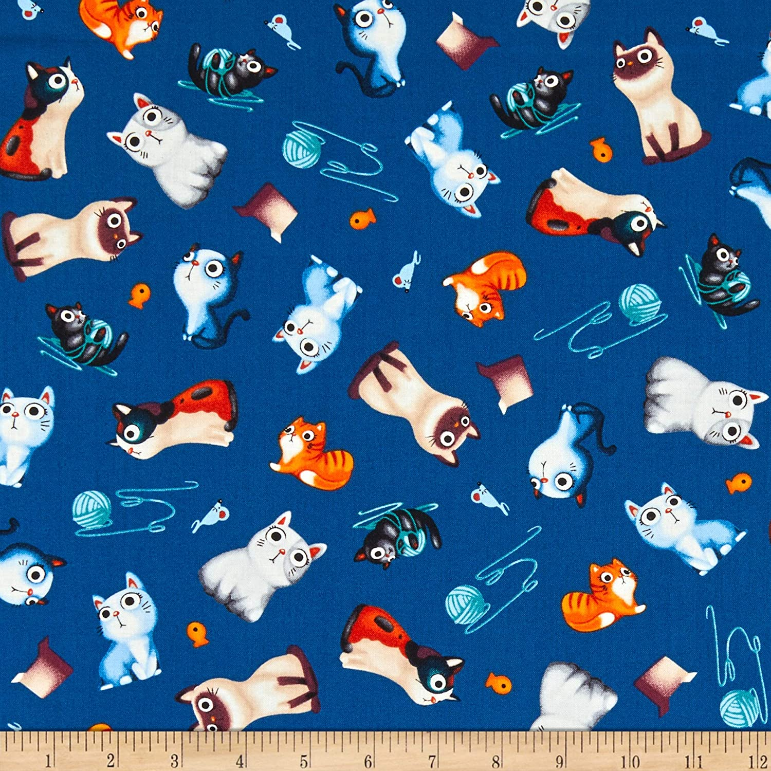 CATS  /&  FISH  ON  RED  100/% Cotton Fabric  By Yard