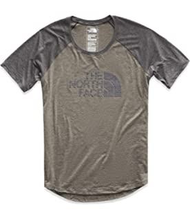 ae69978439 The North Face Women's Short Sleeve 1/2 Dome Graphic Tri-Blend Baseball Tee