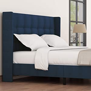 Amolife Queen Bed Frame Wingback Platform Bed/Mattress Foundation with Wood Slat Support/Upholstered Square Stitch with Amolife Headboard, Dark Blue