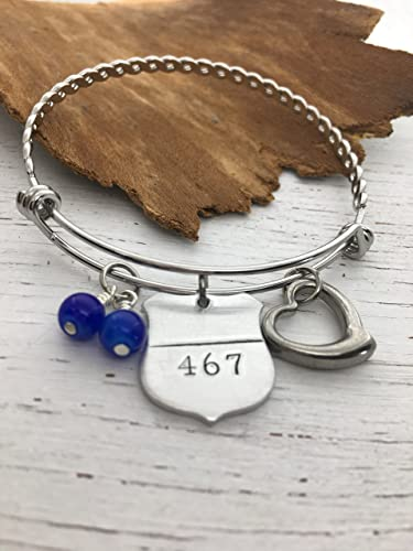 Amazon Com Police Jewelry Thin Blue Line Bangle Charm Bracelet Leo