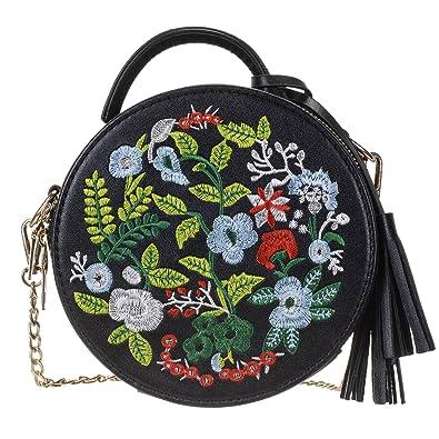 Amazon.com  Women s Ethnic Style Embroidered Round Crossbody Shoulder Bag  Top Handle Tote Handbag Bag  Clothing
