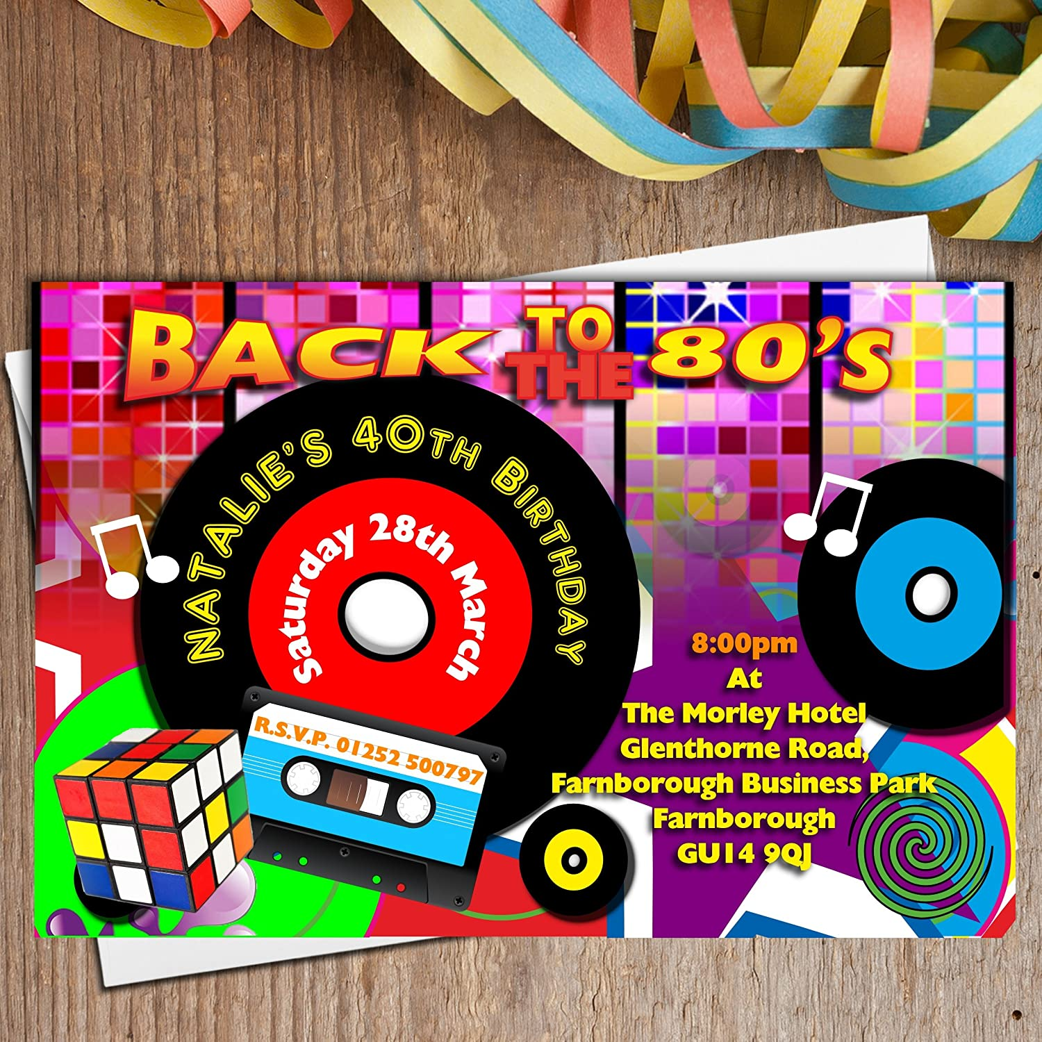 Modern 80s Themed Party Invitations Sketch - Invitations and ...