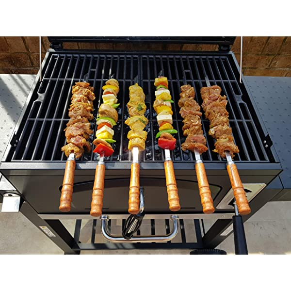 BBQ Flat Skewers 6pcs Stainless Steel with Wooden Handle