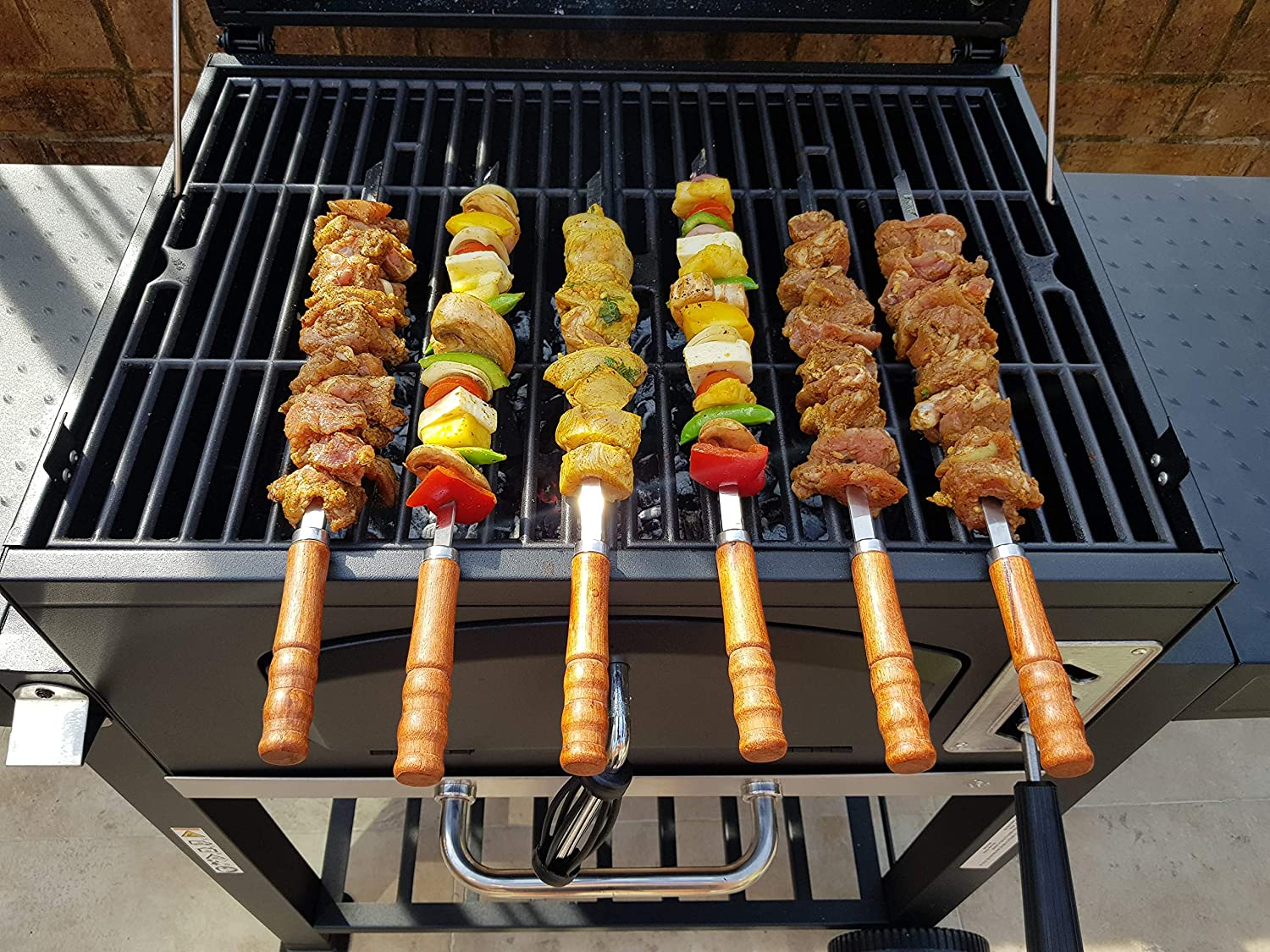 Length 41cm//30cm Width 1cm Thick 2mm with Storage Pouch JD Europe Kebab BBQ Stainless Steel Skewers 6pcs with Wooden Handles