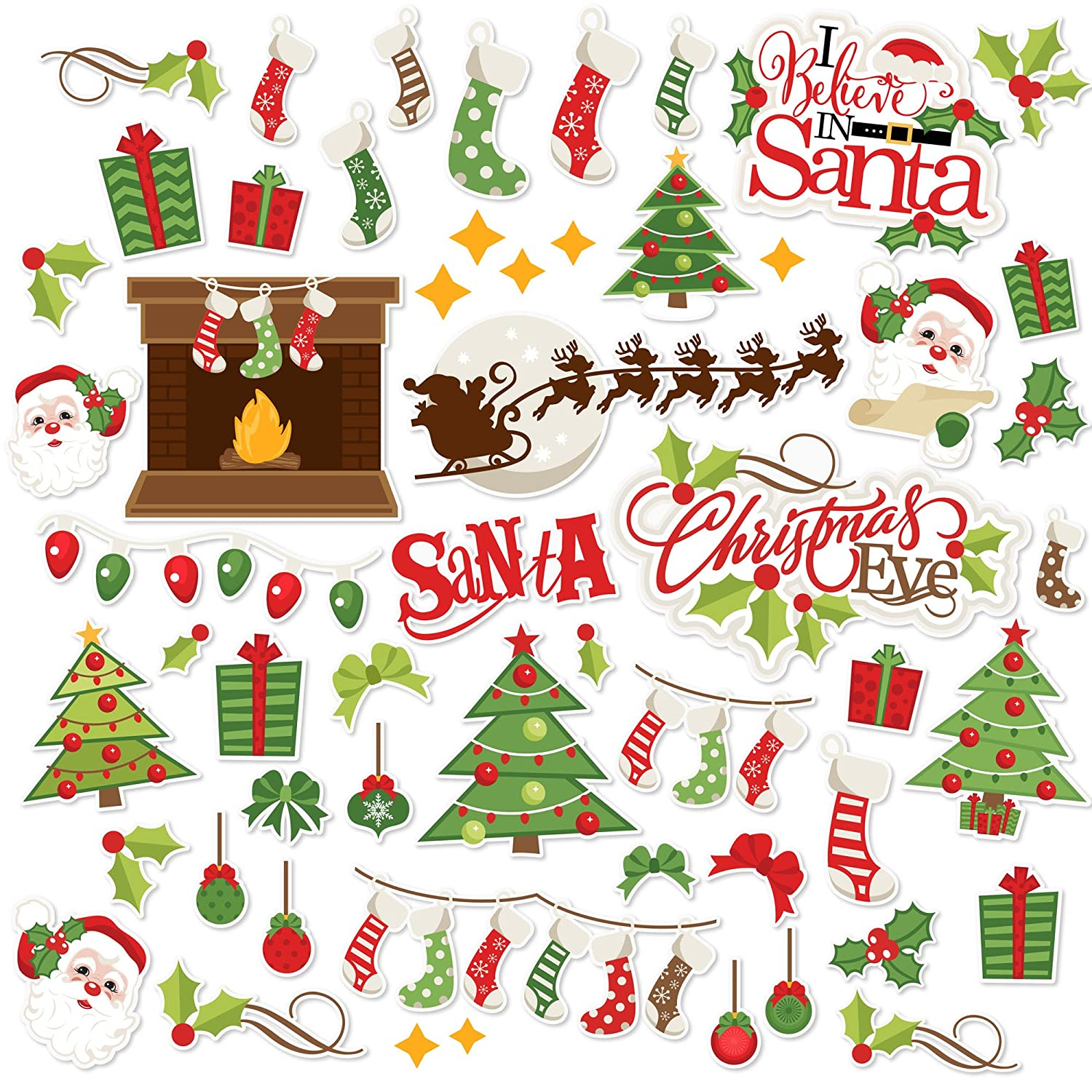 Paper Die Cuts - Christmas Eve - Over 60 Cardstock Scrapbook Die Cuts - by Miss Kate Cuttables