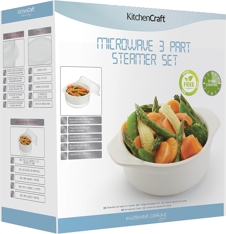 Kitchen Craft Vaporizador de Verduras para microondas, Plástico/Material sintético, Blanco, 20 cm: Amazon.es: Hogar