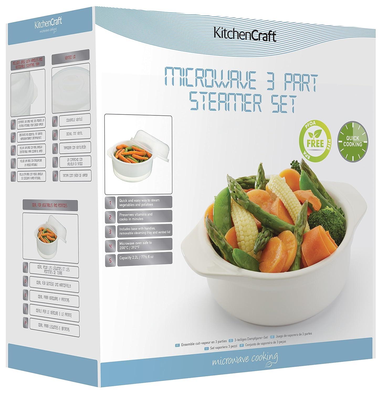Kitchen Craft - Olla para microondas para cocción al Vapor (3 Piezas, 2,2 L)