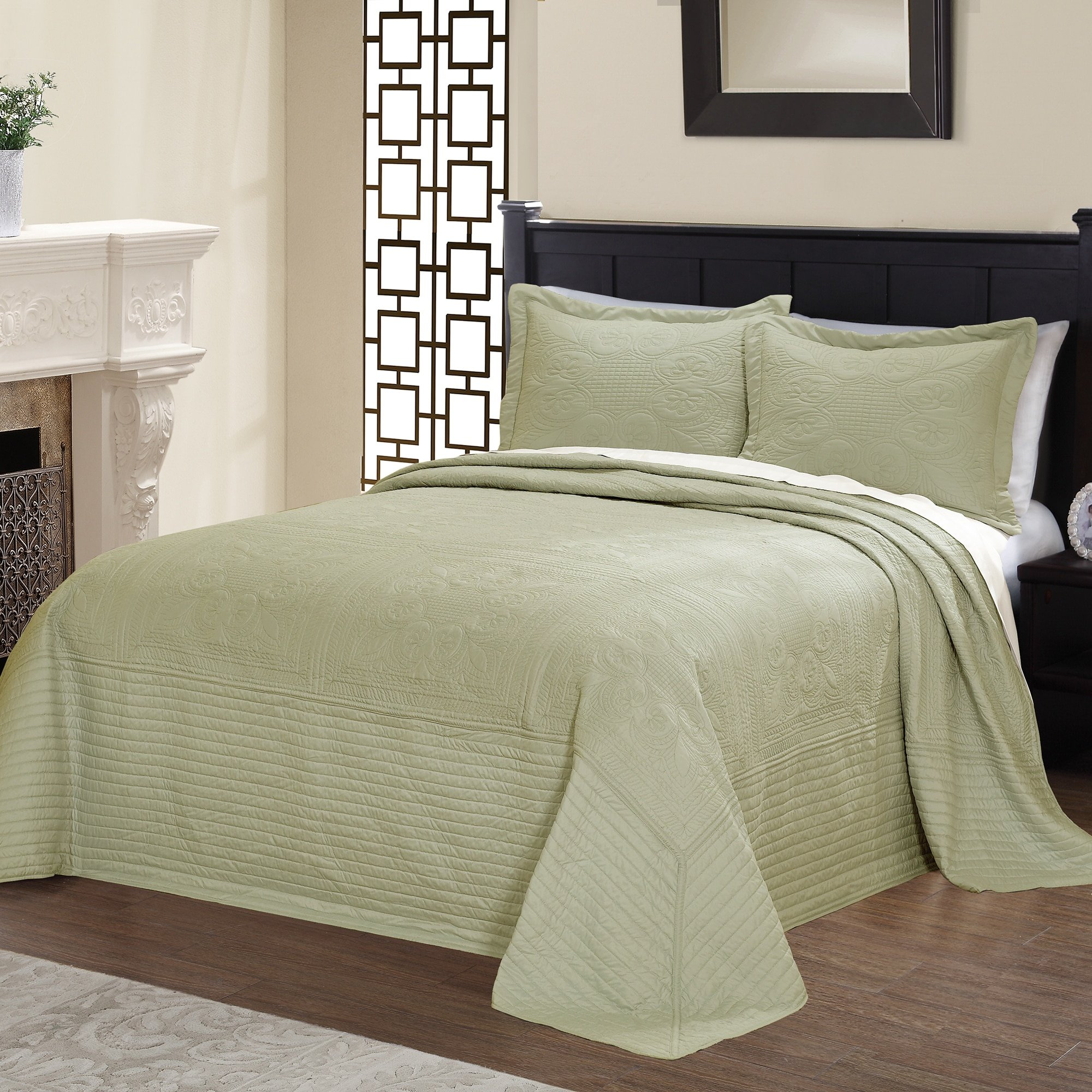 Pem-America, Inc. Vibrant Solid-colored Microfiber and Cotton Quilted French Tile Bedspread White Twin by Pem-America, Inc.
