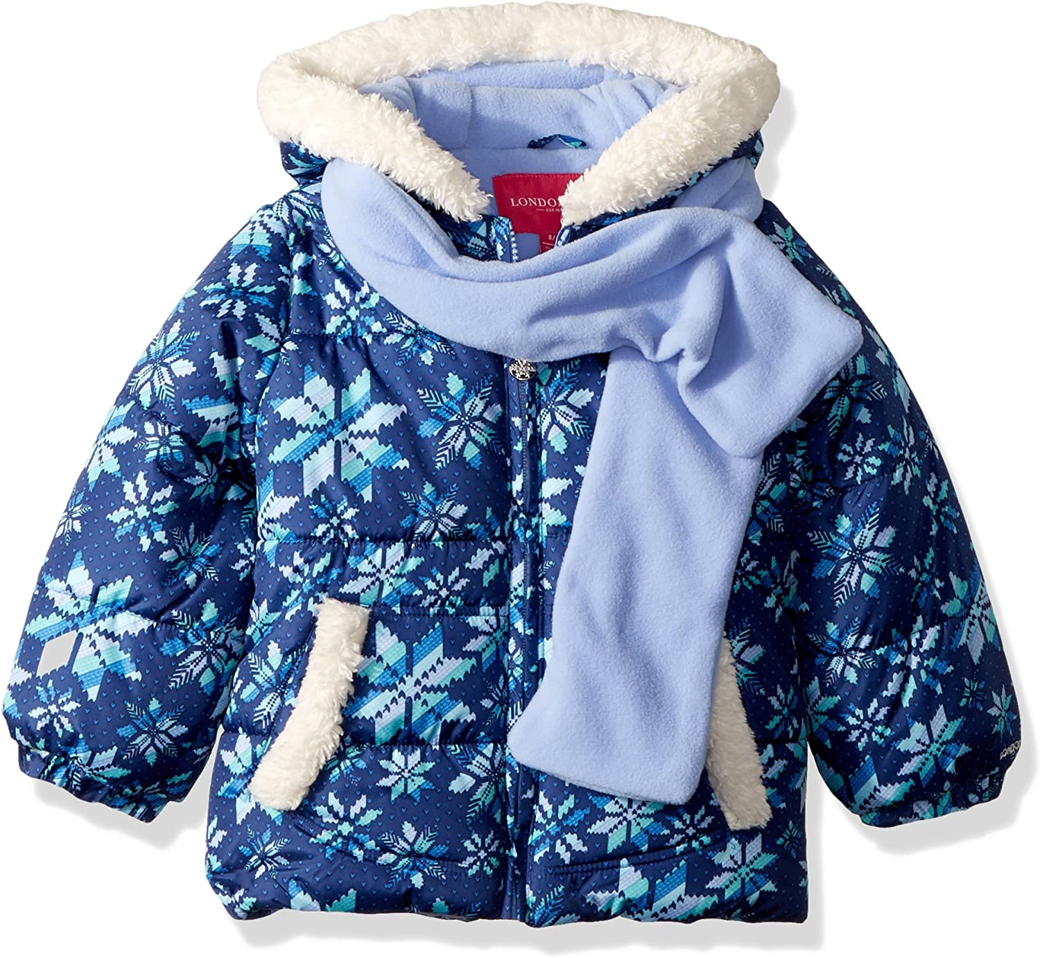 London Fog Girls Big Color Blocked Puffer Jacket Coat with Scarf