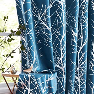 Fmfunctex Silver Tree Blue Blackout Curtains 63 inches for Living Room Bedroom Metallic Branch Print Window Panels Thermal Insulated Drapes for Guest Room Hotel Grommet Top Navy 2 Pack