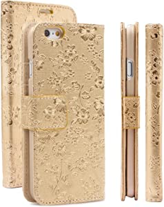 iCues   Compatible with Apple iPhone 6/6S Case   Bouquet gold   Maraba Wallet   Leather - color variations available   Card Slots - Kickstand   Flip Folio Bling Glitter Floral Flower Chrome Girl Women