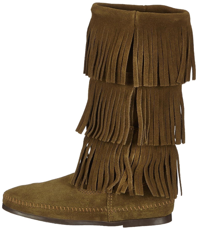 Minnetonka 3-Layer Fringe Boot - Mocasines, color Loden, talla 40 EU / 9 US: Amazon.es: Zapatos y complementos
