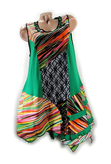 Patchwork Robe tunique Hippie Rétro Situation Look Crazy   Sweet Taille XXL  44 46 Multicolore Vert 607d5dd864a0