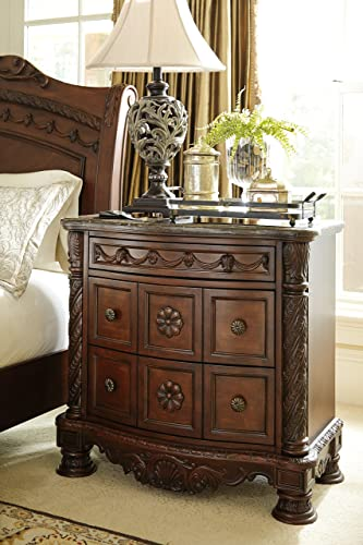 Ashley Furniture North Shore 3 Drawer Marble Top Nightstand in Brown